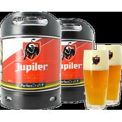 Fûts de bière - Pack 2 fûts 6L Jupiler + 2 verres Jupiler striés logo rouge - 25 cl