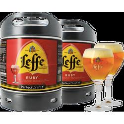 Fässer - Pack 2x Leffe Ruby + 2x 25cl Gläser PerfectDraft 6 liter Fass - Mehrweg