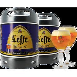 Fässer - Pack 2x Leffe Rituel 9° + 2x 25cl Gläser PerfectDraft 6 Liter Fässer - Mehrweg