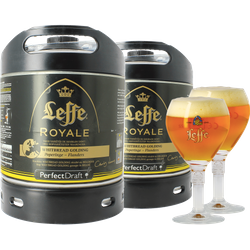 Fatöl - 2 Leffe Royale  Whitbread Golding 6L PerfectDraft Fat + 2 glas 25 cl
