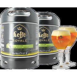 Fûts de bière - Pack 2 fûts 6L Leffe Royale Cascade + 2 verres Leffe Calice - 25 cl