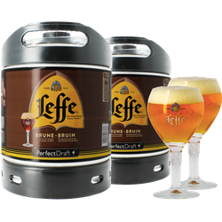 Fatöl - 2 Leffe Brune 6L PerfectDraft Fat + 2 glas 25 cl