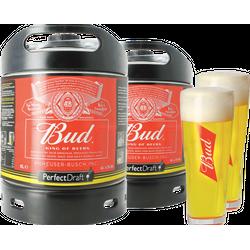 Fûts de bière - Pack 2 fûts 6L Bud + 2 verres Bud - 33cl