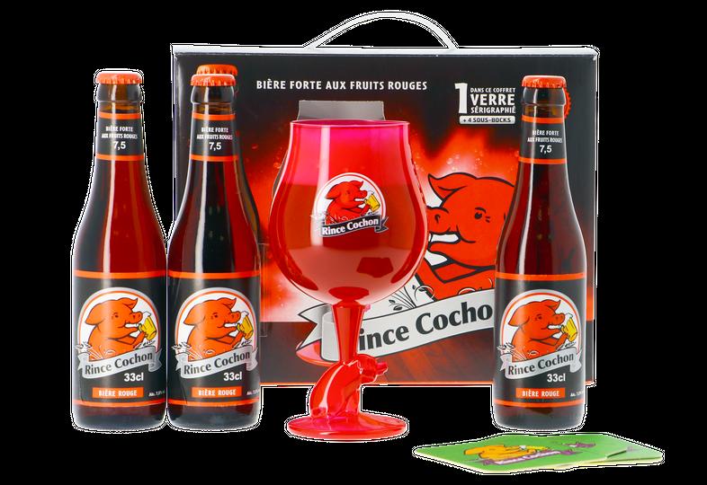 Biercadeaus met glas - Biercadeau Rince Cochon Rouge - 3x33cl + glas