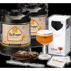 Fûts de bière - Pack 2 fûts 6L La Trappe Blond + Verre, Tapis de Bar, Coupe Mousse, Sous Bock
