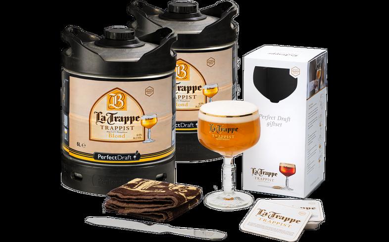 Fässer - Pack 2 x 6L Fass  La Trappe Blond + Glas, Barmatte, Schaumspatel, Bierdeckeln
