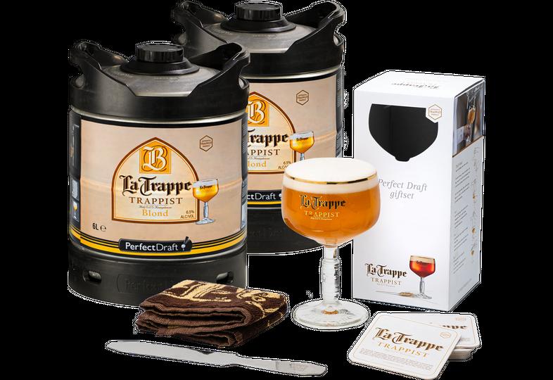 Kegs - Pack 2 fûts 6L La Trappe Blond + Verre, Tapis de Bar, Coupe Mousse, Sous Bock