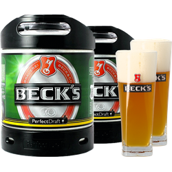 Fatöl - 2 Beck's 6L PerfectDraft Fat + 2 glas 50 cl