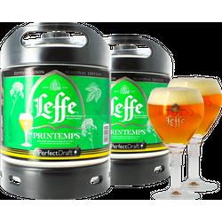 Fûts de bière - Pack 2 fûts 6L Leffe de Printemps + 2 verres Leffe Calice - 25 cl