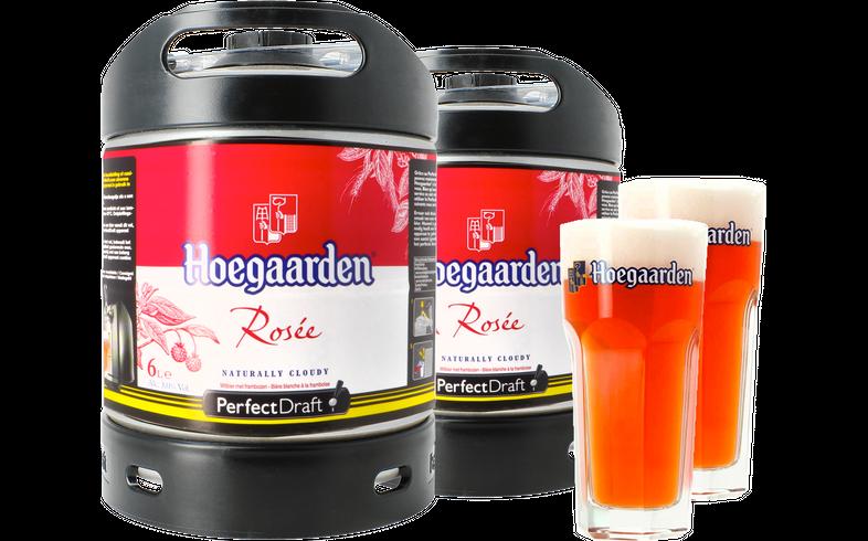 Fûts de bière - Pack 2 fûts 6L Hoegaarden Rosée + 2 verres Hoegaarden - 25 cl