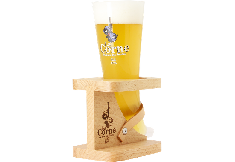 Beer glasses - La Corne Du Bois Des Pendus glass with wooden base
