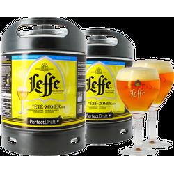 Fässer - Pack 2x Leffe Sommerbier + 2x 25cl Gläser PerfectDraft 6 Liter Fässer - Mehrweg