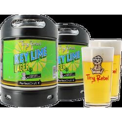 Tapvaten - Pack 2 fûts 6L Tiny Rebel Key Lime Lager + 2 verres Tiny Rebel - 50cl