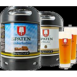 Fässer - Pack Spaten & Spaten Oktoberfest + 2x 40cl Gläser PerfectDraft 6 Liter Fässer - Mehrweg