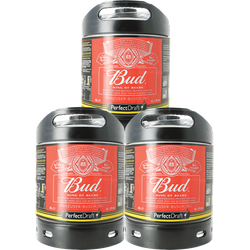 Tapvaten - PerfectDraft Bud Budweiser 3-Pack Vaten 6L - 15 EUR Statiegeld