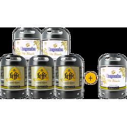 Fatöl - Pack 6 fûts 6L : 3 Leffe blonde et 2 Hoegaarden + 1  Hoegaarden offert