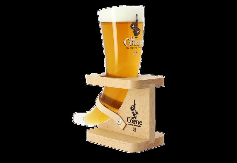 Beer glasses - La Corne Du Bois Des Pendus Red horn glass + wooden stand