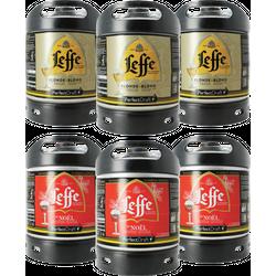 Fässer - Pack 6 fûts : 3 Leffe blonde, 3 Leffe de Noël