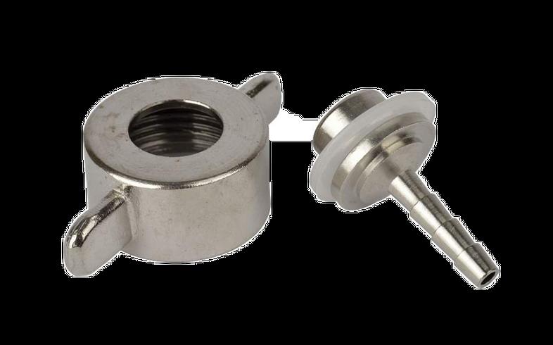 Accessoires du brasseur - Porte-tuyau 4 mm pour détendeur CO2, avec cannelure droite avec écrou à oreilles