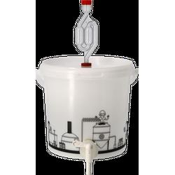 Brouwgereedschap - Seau de fermentation 6,2L gradué et percé avec Robinet, couvercle troué et Barboteur
