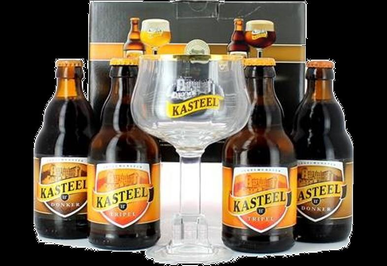 Confezione regalo con birra e bicchieri - Confezione Regalo Kasteel  - 4 birre 1 Bicchiere