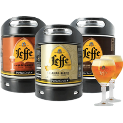 Fatöl - Pack 2 fûts 6L Leffe Blonde - Leffe Ambrée - Leffe Brune + 2 verres 25 cl