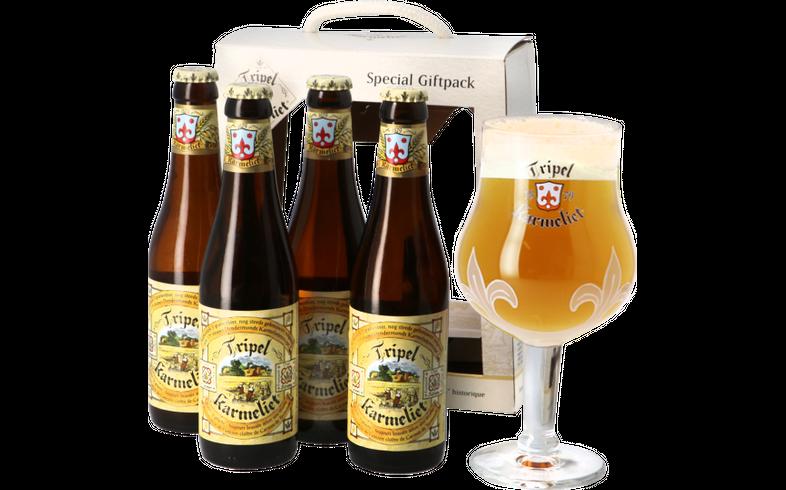 Coffrets cadeaux verre et bière - Coffret Tripel Karmeliet - 4 bières et 1 verre