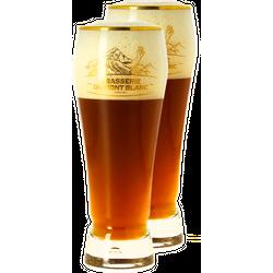 Beer glasses - 2 Mont Blanc gold rim glasses - 25 cl