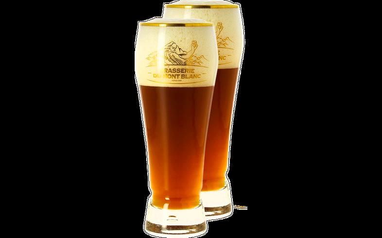 Verres à bière - Pack 2 Verres Mont Blanc col doré - 25 cl