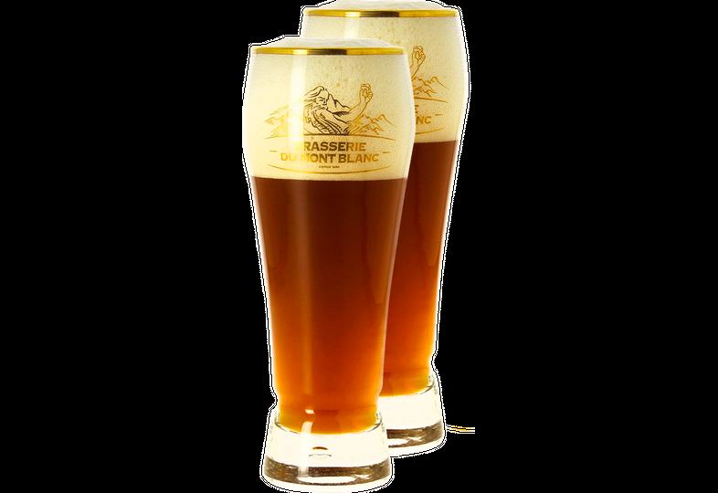 Biergläser - Pack 2 Verres Mont Blanc col doré - 25 cl