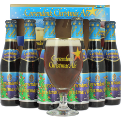 Gift box with beer and glass - Corsendonk Christmas Gift Pack (6 bottles + 1 glass)