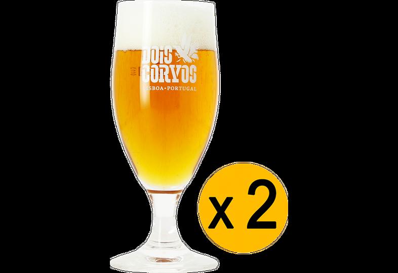 Ölglas - 2 Dois Corvos stem beer glasses - 20 cl