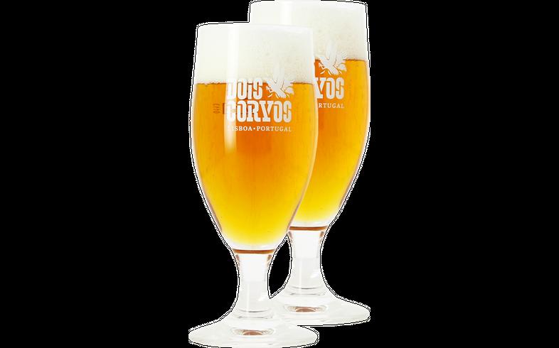 Beer glasses - 2 Dois Corvos stem beer glasses - 20 cl